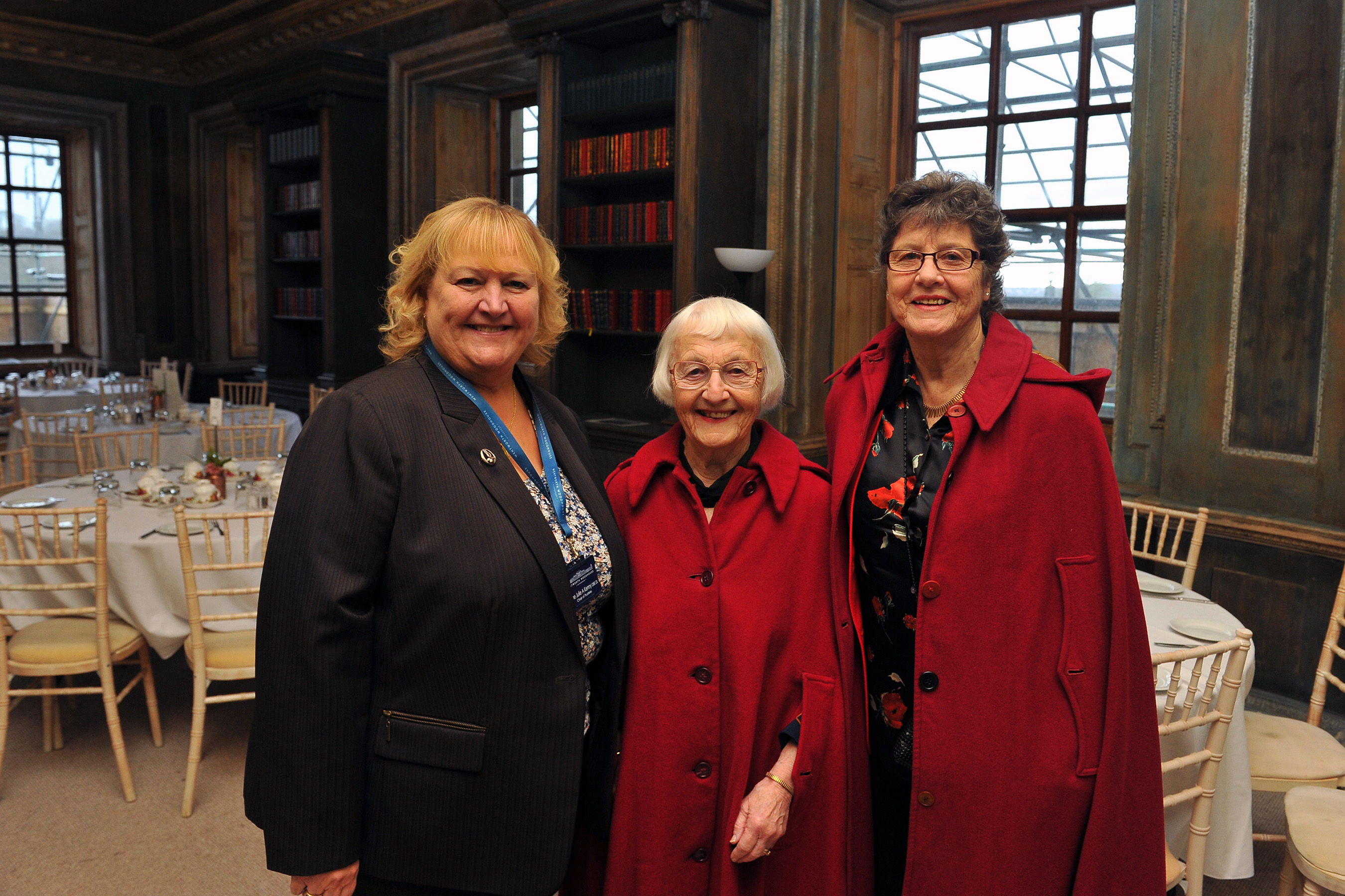 Former students at the Lady Mabel College of Physical Education, recently attended a lunch to celebrate the 70th anniversary of the college's opening. The lunch took place in the Lower Gallery at Wentworth Woodhouse, which used to be their dining room. Seen at the event (left to right) are: Dame Julie Kenny CBE DL, chair of trustees Wentworth Woodhouse Preservation Trust; Sybil Wilbraham, first student through the door on her 19th birthday, 1949-1952 and Sheila Sherwood, Olympic Long Jumper, student from 1964-1969.