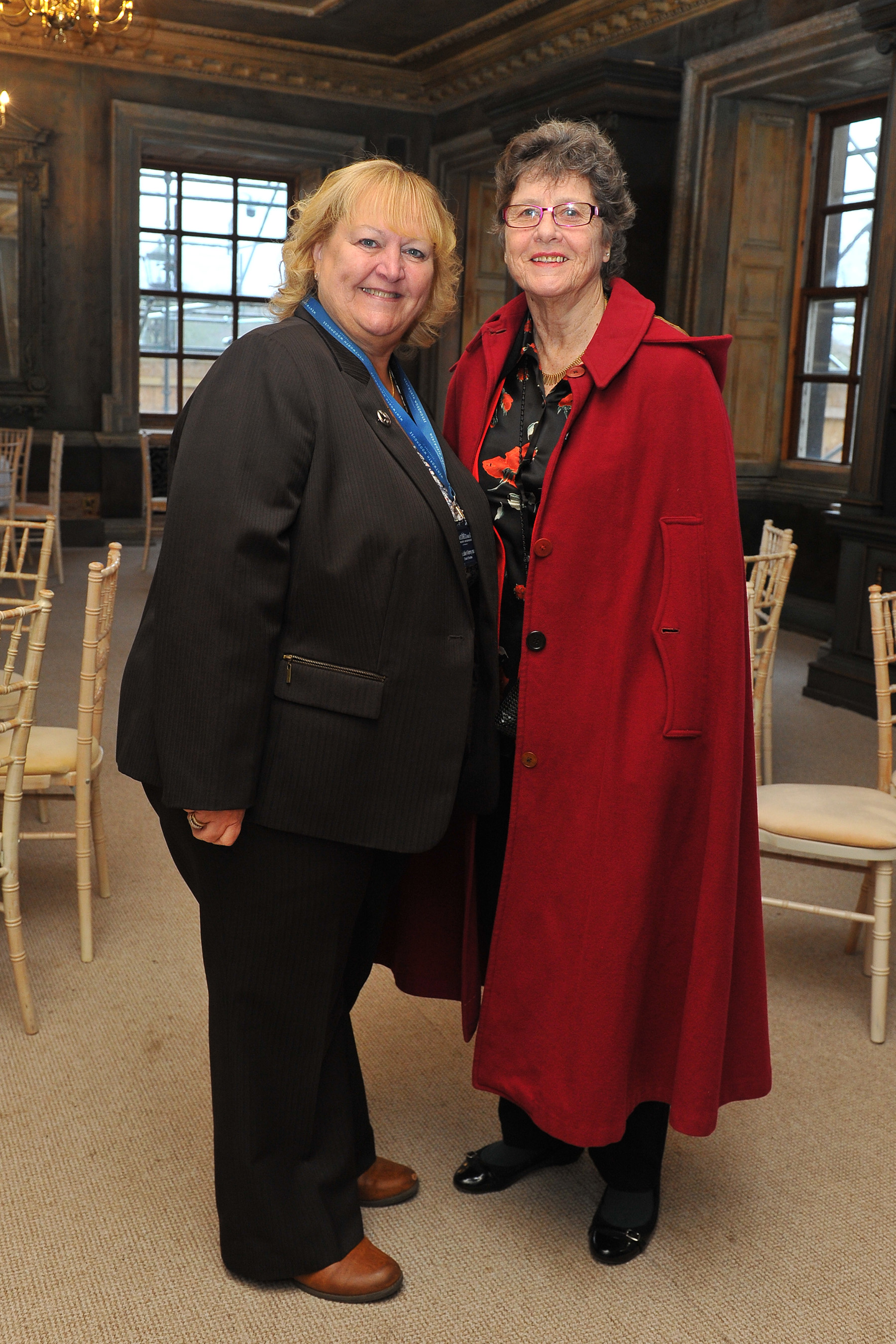 Former students at the Lady Mabel College of Physical Education, recently attended a lunch to celebrate the 70th anniversary of the college's opening. The lunch took place in the Lower Gallery at Wentworth Woodhouse, which used to be their dining room. Seen at the event (left to right) are: Dame Julie Kenny CBE DL, chair of trustees Wentworth Woodhouse Preservation Trust and Sheila Sherwood, Olympic Long Jumper, student from 1964-1969.