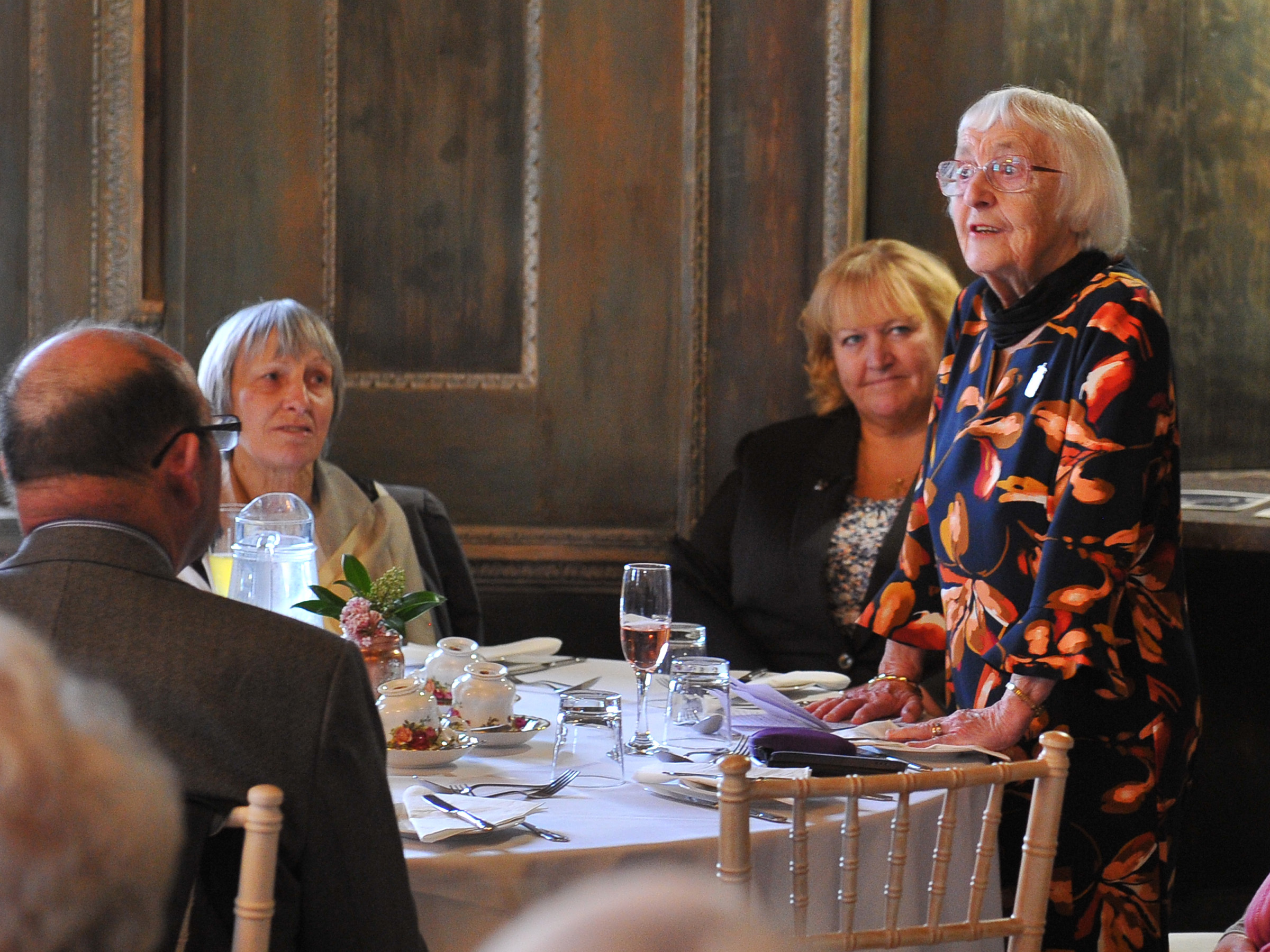 Former students at the Lady Mabel College of Physical Education, recently attended a lunch to celebrate the 70th anniversary of the college's opening. The lunch took place in the Lower Gallery at Wentworth Woodhouse, which used to be their dining room. First pupil through the doors on her 19th birthday, Sybil Wilbraham, is seen giving a speech at the lunch.