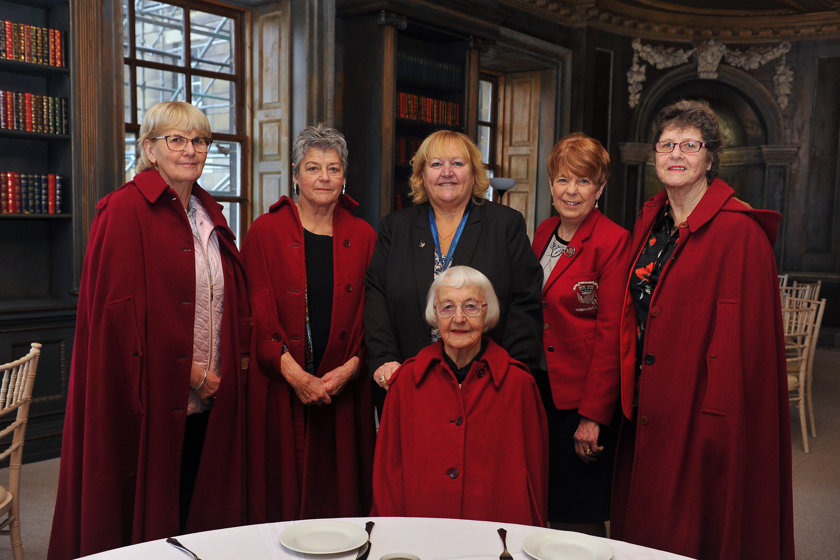 Former students at the Lady Mabel College of Physical Education, recently attended a lunch to celebrate the 70th anniversary of the college's opening. The lunch took place in the Lower Gallery at Wentworth Woodhouse, which used to be their dining room. Seen at the event (left to right) are: back row; Sue Gravil, 1967-1970; Gwynneth Elliot, 1967-1970; Dame Julie Kenny CBE DL, chair of trustees Wentworth Woodhouse Preservation Trust; Jo Owen1966-1969 and Sheila Sherwood, Olympic Long Jumper, 1964-1969; seated; Sybil Wilbraham, first student through the door on her 19th birthday, 1949-1952.